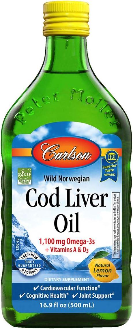 Carlson Labs Salvaje Noruega Aceite De Hígado De Bacalao, Limón Natural 865 g