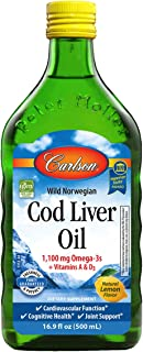 Carlson - Cod Liver Oil, 1100 mg Omega-3s, Liquid Fish Oil Supplement, Wild-Caught Norwegian Arctic Cod-Liver Oil, Sustain...