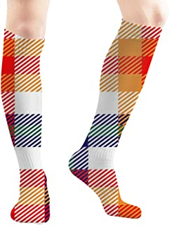 Plaid Checkered Fabric Texture Unisex Elastic Long Socks Compression Knee High Socks for Sports, Running, Travel 19.7 Inch