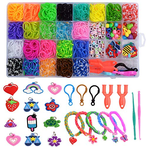 GOTONE DIY Rainbow Rubber Bands Twist Band Friendship Bracelet Making Kit with 1500 Bands + 12 Charms + 2 Crochet Hooks + 3 Hooks + 3 Bag S Clips + 2 Clips + Beads