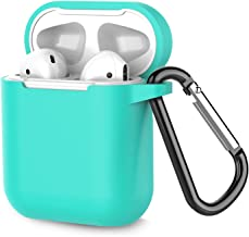 Airpods Case, Coffea AirPods Accessories Shockproof Case Cover Portable & Protective Silicone Skin Cover Case for Airpods 2 & 1 (Front LED Not Visible) - Green