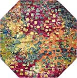 Unique Loom Jardin Collection Colorful Abstract Multi Octagon Rug (8' 0 x 8' 0)