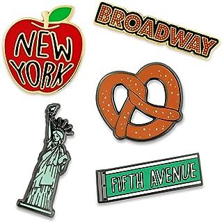 New York Broadway Statue of Liberty Fifth Avenue 5 Piece Pin Set