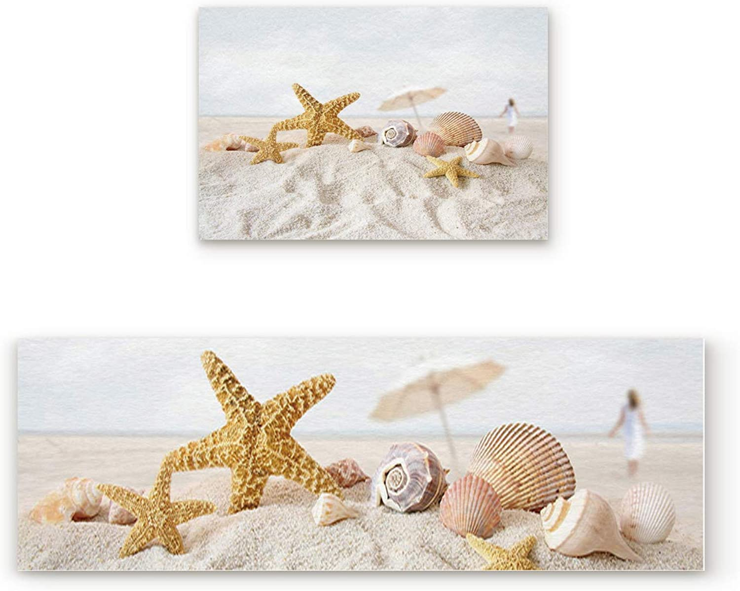 Kitchen Rugs, Non Slip Mat Kitchen Rug Set 2 Piece Unique and Generic Pearls Starfish Seashell 19.7 x31.5 +19.7 x63
