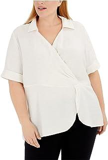 Alfani Women Top Shirt White US Size 1X Plus Knit Collared Drape Front