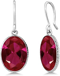 Gem Stone King 925 Sterling Silver Red Created Ruby Dangle Earrings 10.00 cttw Oval Shape 14X10MM