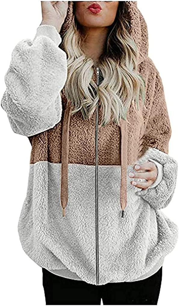 Kanzd Hoodies for Women Long Sleeve Zip Up Hoodies Tops Trendy Colorblock Soft Fleece Warm Pullover Jacket Blouse Outwear