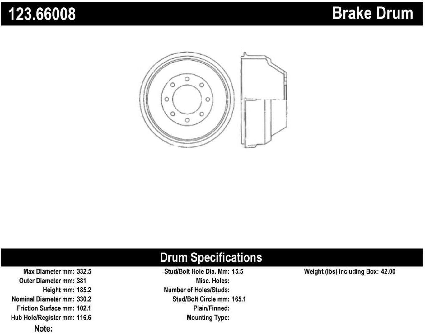Centric Parts 123.66008 Brake In Quantity limited stock Drum