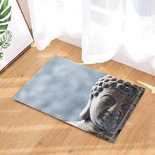 FEIYANG Zen Decoración Estatua De Buda Gris para Yogabath Alfombras Antideslizante Felpudo Piso De Entrada Puerta Delantera Interior Estera Mat De Baño para Niños 60x40cm Accesorios De Baño