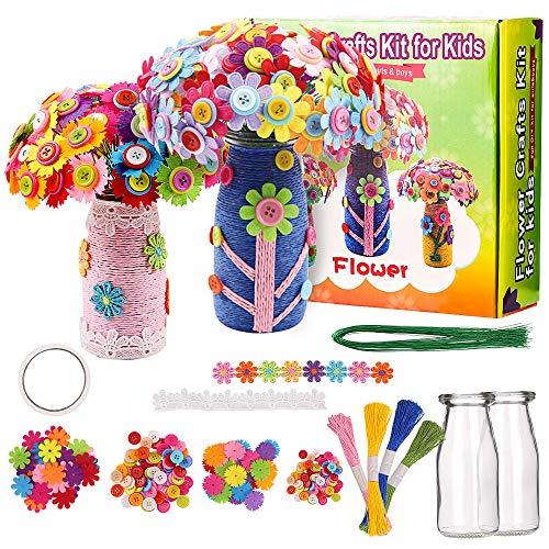 CGBOOM - Kit de manualidades para niños, divertido kit de manualidades para niñas y niños, botones coloridos, flores de fieltro, floreros artes, suministros para fiestas de 4 a 5 6, 7, 8 9 y 10 años