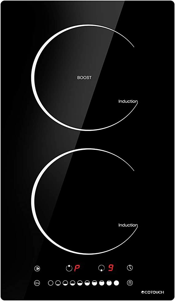"""Induction Cooktop, ECOTOUCH 12"""" Induction Stove Top Built-in Cooktop, 240V, 2 Burners Induction Electric Cooktop, Vitro Ceramic Surface With Booster, IC320B"""
