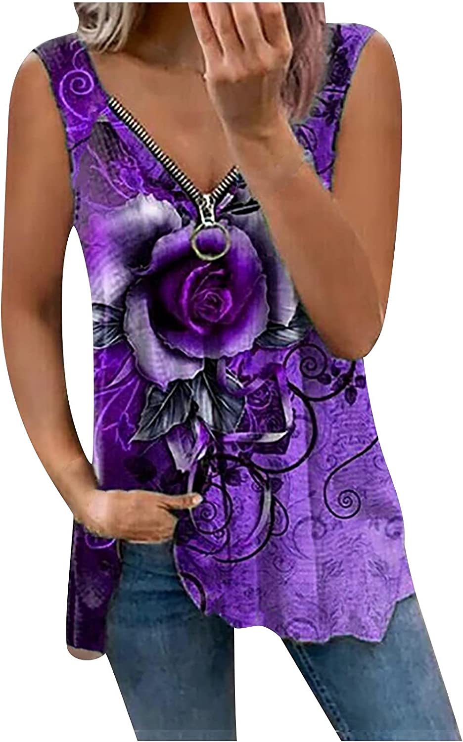 Zipper Tank Tops for Women Casual Sleeveless V-Neck Camis Tops Floral Printed Blouse Summer Loose Hem Tee