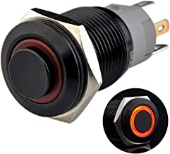 Ulincos Latching Pushbutton Switch U16F2 1NO1NC SPDT ON/Off Black Metal Shell with Red LED Ring Suitable for 16mm 5/8