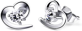 B.Catcher Silver Earrings Love Heart Cubic Zirconia Studs Earrings Set