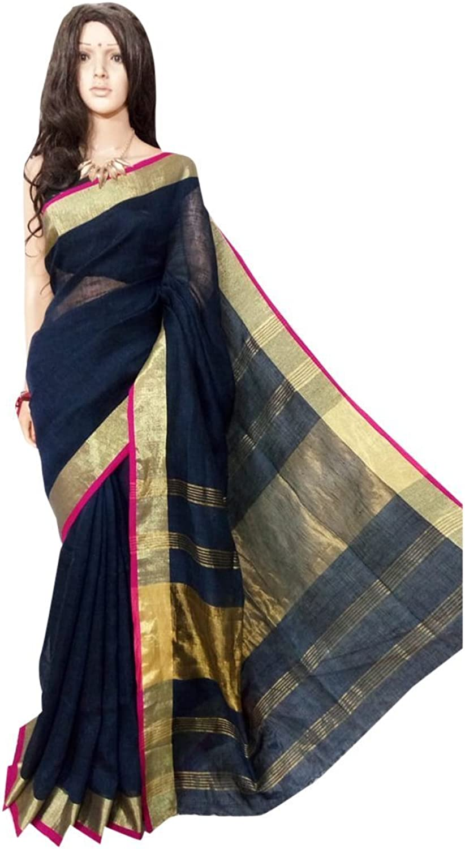 bluee Linen Cotton handloom Handwork Saree Formal Wedding Indian Beautiful Zari Border Traditional Sari with Blouse Piece Handmade Bengal Weavers 118