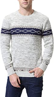 Zicac Men's Casual Long Sleeve Twisted Knitted Turtleneck Pullover Crew-Neck Knitwear Jumper Casual Knitted Pullover Sweaters