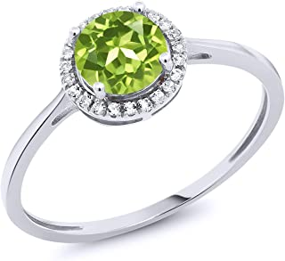 10K White Gold Green Peridot and Diamond Women's Engagement Ring 1.07 Cttw (Available 5,6,7,8,9)