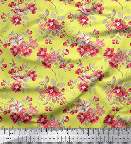 Soimoi 56 Zoll breit dekorative Blumen Printed Cotton Fabric Schneiderei Material 60 durch Das Messgerät GSM-Yellow