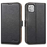 Jenuos iPhone 11 Case, Flip Genuine Leather Wallet Phone