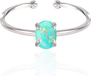 14K Rose Gold Plated Opal Ring, White/Green/Pink Opal Ring, Adjustable Size