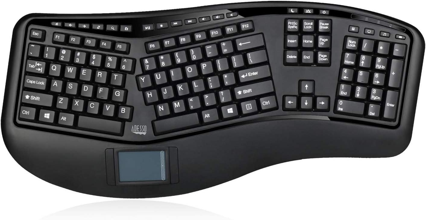 Adesso WKB-4500UB - Wireless Ergonomic Desktop Touchpad Keyboard