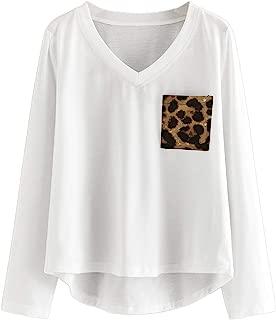 SheIn Women's Basic Long Sleeve V-Neck Tee Leopard Pocket High Low T Shirt Tops