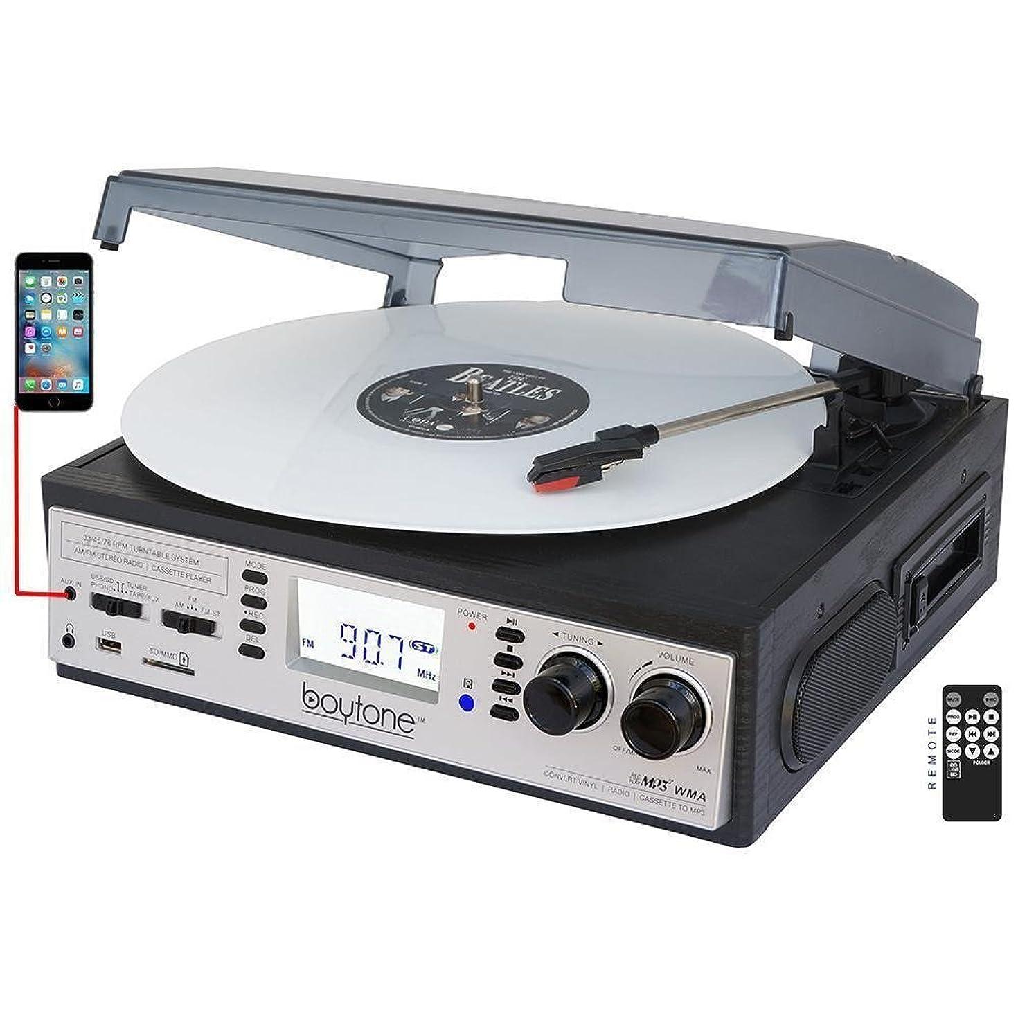 Boytone BT-19DJS-C 3-speed Turntable, 2 Built in Speakers Large Digital Display AM/FM, Cassette, USB/SD/AUX/MP3, Recorder & WMA Playback /Recorder & Headphone Jack + Remote Con (Renewed)