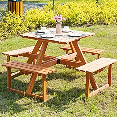 Merax. Outdoor 8 Person Pine Wood Picnic Table and Benches (Yellow)