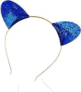 Glitter Cat Ears Headband Costume Cat Ears Halloween Costume Ears Fancy Ears (Blue)
