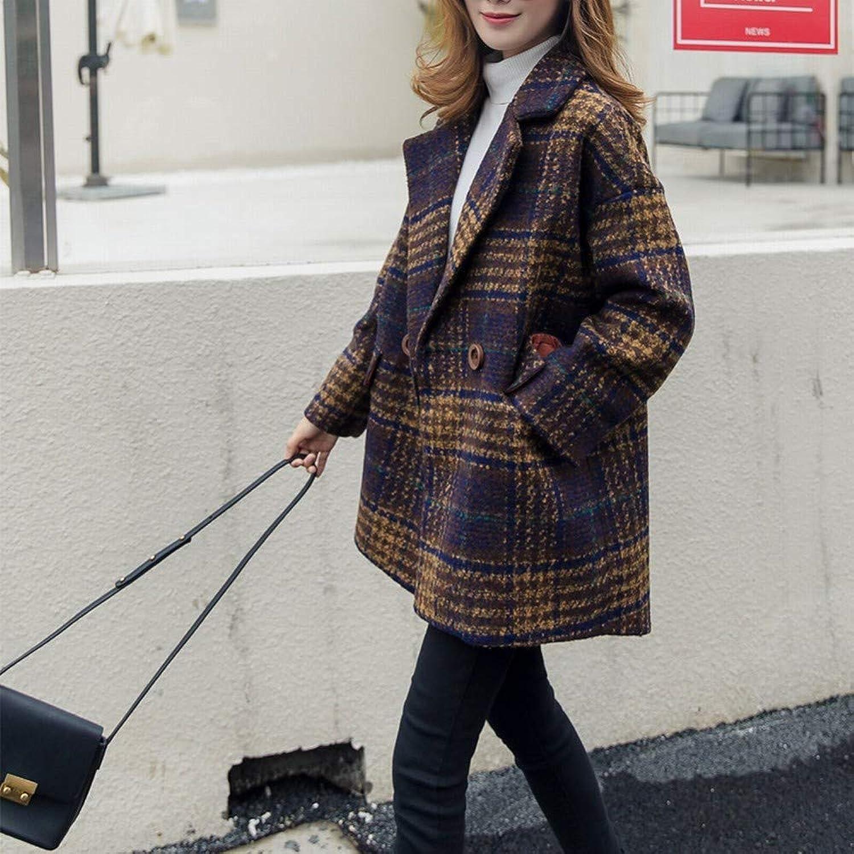Houndstooth Woolen Coat, Female Autumn and Winter Loose Long Coat Coat, Casual Wild Tartan Woolen Coat XQY