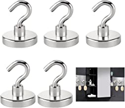 Magnetic Hooks Set of 5 Strong Heavy Duty Magnet Hook Removable Multiuse for Refrigerator Kitchen Home Storage Industrial Organizer Hanger Sliver Holiday Week Christmas Day Gift