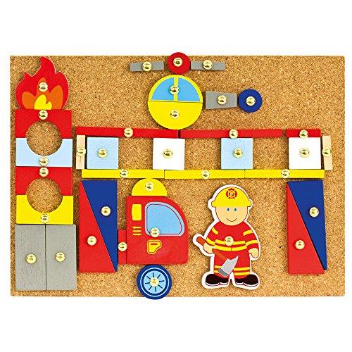 Bino World of Toys Jeu Pompier, partir de 3 Ans (y Compris des Feuilles de Bois colorées, de différentes Formes, Jouet pour Enfants avec Marteau et Clous),Multicolore, 82197