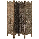 Global Chic Sun, Moon and Star 4 Panel Screen Room Divider of Hand Carved Sustainable Mango Wood, 78 3/4 Wide X 3/4 Deep X 71 Tall Inches (200 w x 2 d X 180 h cm) Grand Tour Collection