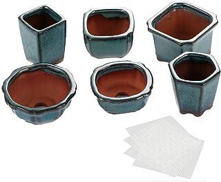 Happy Bonsai - Juego de 6 mini ollas esmaltadas + 6 pantallas de drenaje de malla suave