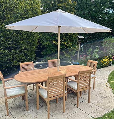 Teak Garden Furniture Sets | Garden Table and Chairs Set 6 | Quality Outdoor Furniture Set | Extending Table Garden Patio Set | Wooden Garden Furniture Sets with Parasol & Cushions