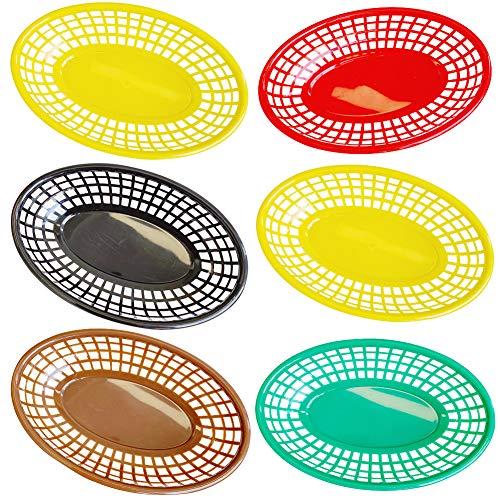 BAIBEI Plastikkorb Mini Set,Plastikkörbchen für Picknicks, Grillfeste und Sommerpartys, Bunt (6 pro Pack)