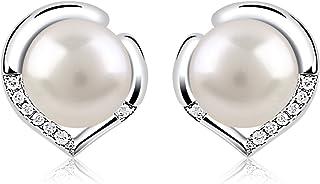 B.Catcher Pearl Earrings Women's Stud Earrings Heart 925 Silver Earrings Heart Language Zirconia Freshwater Cultured Pearls Gift For Women