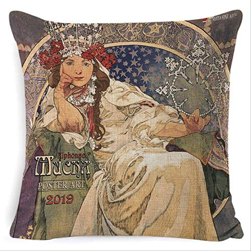 N\A 45 * 45cm Retro Oil Painting Decorative Pillowcases, Gold Pattern Print Pillow Cover, Vintage Sofa Chair Cushion Cover