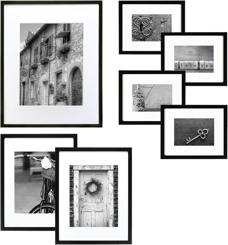 Hängen Sie Ihren Ihren Ihren Galerie 7-teilig Rahmen, schwarz mit weiß B00KY08L8E | Ermäßigung  6321e4