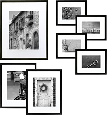 """Gallery Perfect Gallery Wall Kit Photo Decorative Art Prints & Hanging Template Picture Frame Set, Multi Size - 8"""" x 10"""", 5"""" x 7"""", 4"""" x 6"""", Black, 7 Piece"""