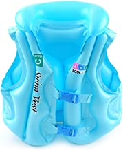 Anyi Life Jacket Inflatable Swim Vest for Kids, Size S-L, Suitable for 30-88lbs, Colorful