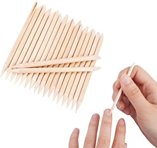 Floranea 50 Pcs Orange Wood Sticks for Nails Natural Double Sided Multifunctional Wooden Mini Cuticle Pusher Remover Tool Kit for Manicure Pedicure