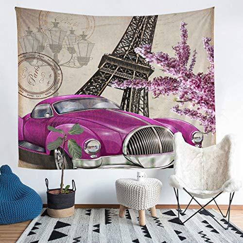Manta de pared con diseño de torre Eiffel retro París para niños, niñas, adolescentes, ultra suave, estilo vintage, para colgar en la pared, tamaño mediano, 152 x 159 cm