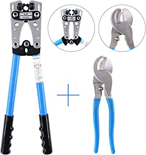 Glarks 2Pcs Wire Crimper Terminal Crimping Tool Cable Lug Crimper Cu/Al Terminal Ratchet Electrician Plier with Cable Cutter for 10, 8, 6, 4, 2, 1/0 AWG Wire Cable Cutting and Crimping