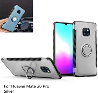 Huawei Mate 20 Pro Case,360° Rotating Ring Kickstand Protective Case,TPU+PC Shock Absorption Double Protection Cover Compatible with [Magnetic Car Mount] for Huawei Mate 20 Pro (Silver)