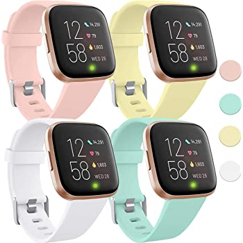 Witzon 4 Pack Bands Compatible with Fitbit Versa 2 / Versa/Versa Lite Smartwatch, Waterproof Silicone Sport Strap Replacement Wristband for Women Men, Small, Pink Sand/Milk Yellow/Mint Green/White