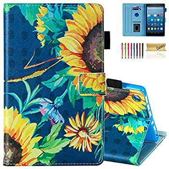 Casii All-New Fire HD 8 Case Slim Protective Kickstand Smart Magnetic Case with Auto Sleep/Wake Multi-Angle Viewing for 8.0  Kindle Fire HD 8 Tablet  2015/2016/2017/2018 Release  Sunflower