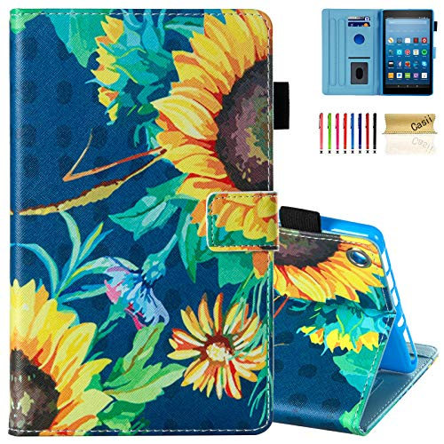 """Casii All-New Fire HD 8 Case, Slim Protective Kickstand Smart Magnetic Case with Auto Sleep/Wake Multi-Angle Viewing for 8.0"""" Kindle Fire HD 8 Tablet (2015/2016/2017/2018 Release), Sunflower"""