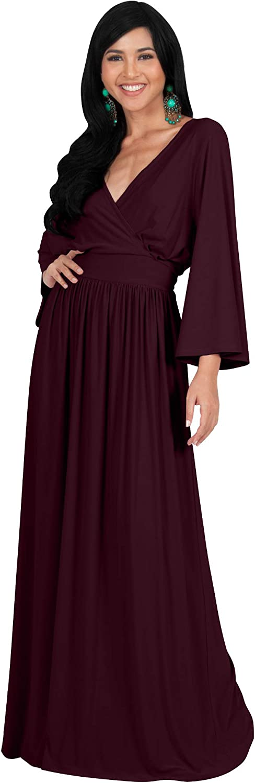 KOH KOH Womens Long Kimono Sleeve V-Neck Wrap Belted Empire Flowy Maxi Dress