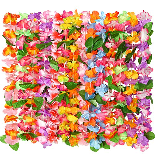 Cooraby 14 Pieces Hawaiian Leis Necklaces Colorful Hawaiian Flower Leis Necklaces for Luau Party Decorations Beach Party Supplies